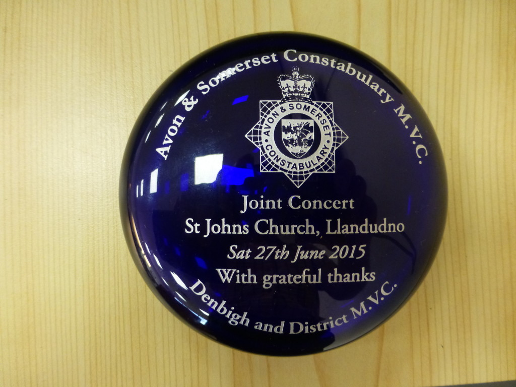 Paperweight presented by Avon & Somerset Constabulary MVC Constabulary MVC to Denbigh & District MVC 27.06.2015