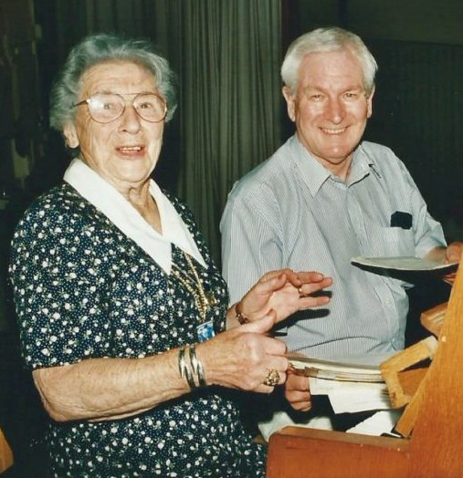 Mrs Phyllis Dryhurst Dodd and John Tudor Davies in Corwen 2000